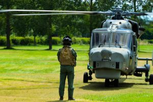 Wildcat helicopter and observing aircrew