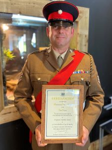 Sergeant Grant with his certificate